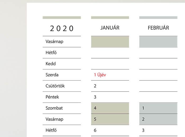 2020 ingyenesen letölthető évtervező naptár havi felbontással