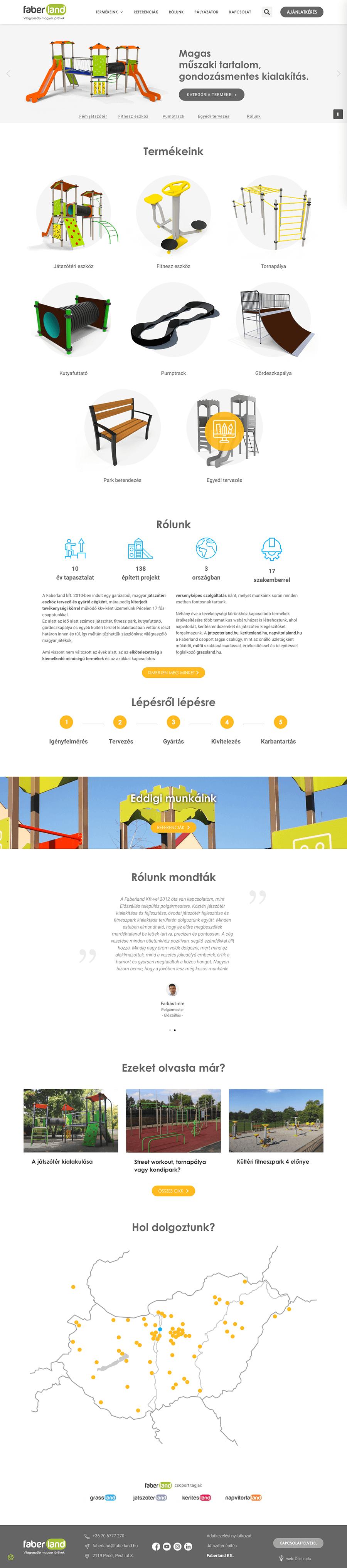 faberland-fooldal1 wordpress weboldal építés