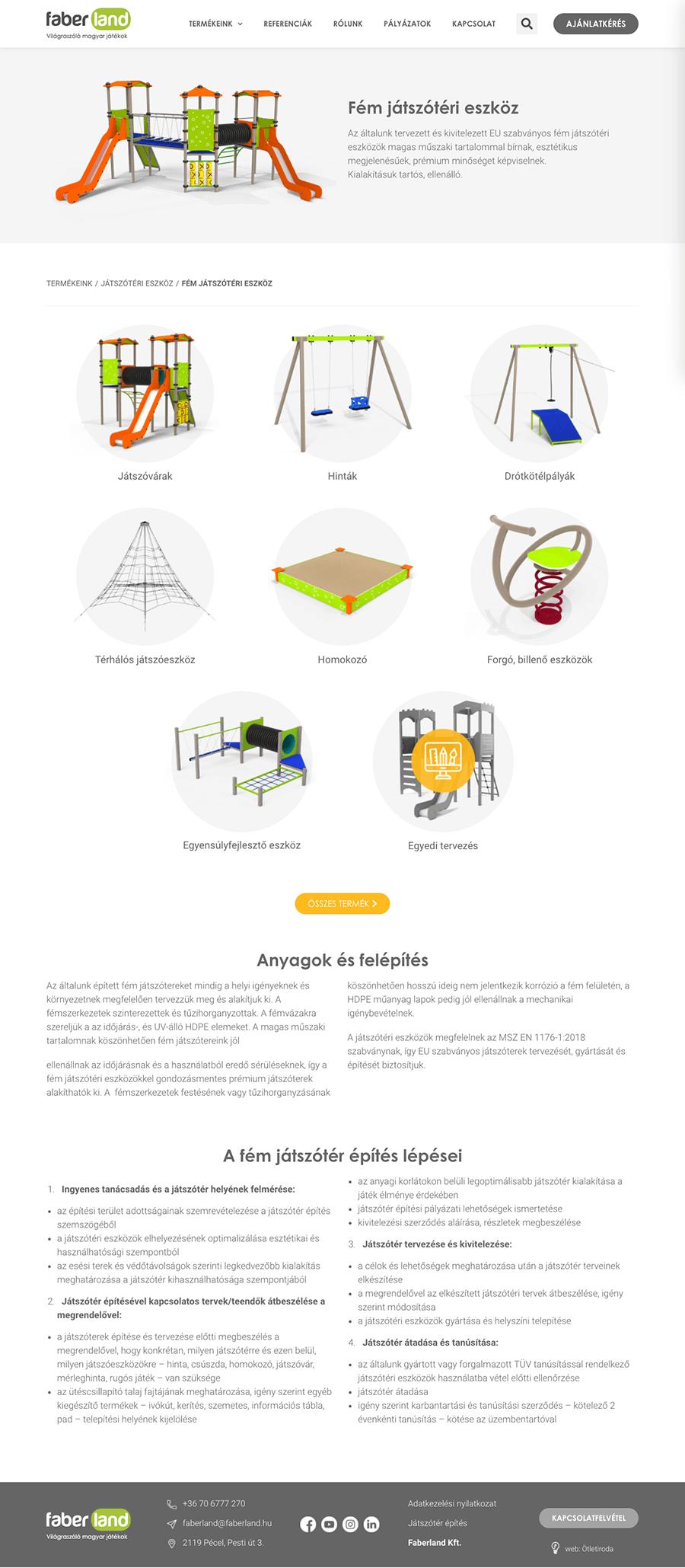 faberland-kategoriaoldal wordpress weboldal építés