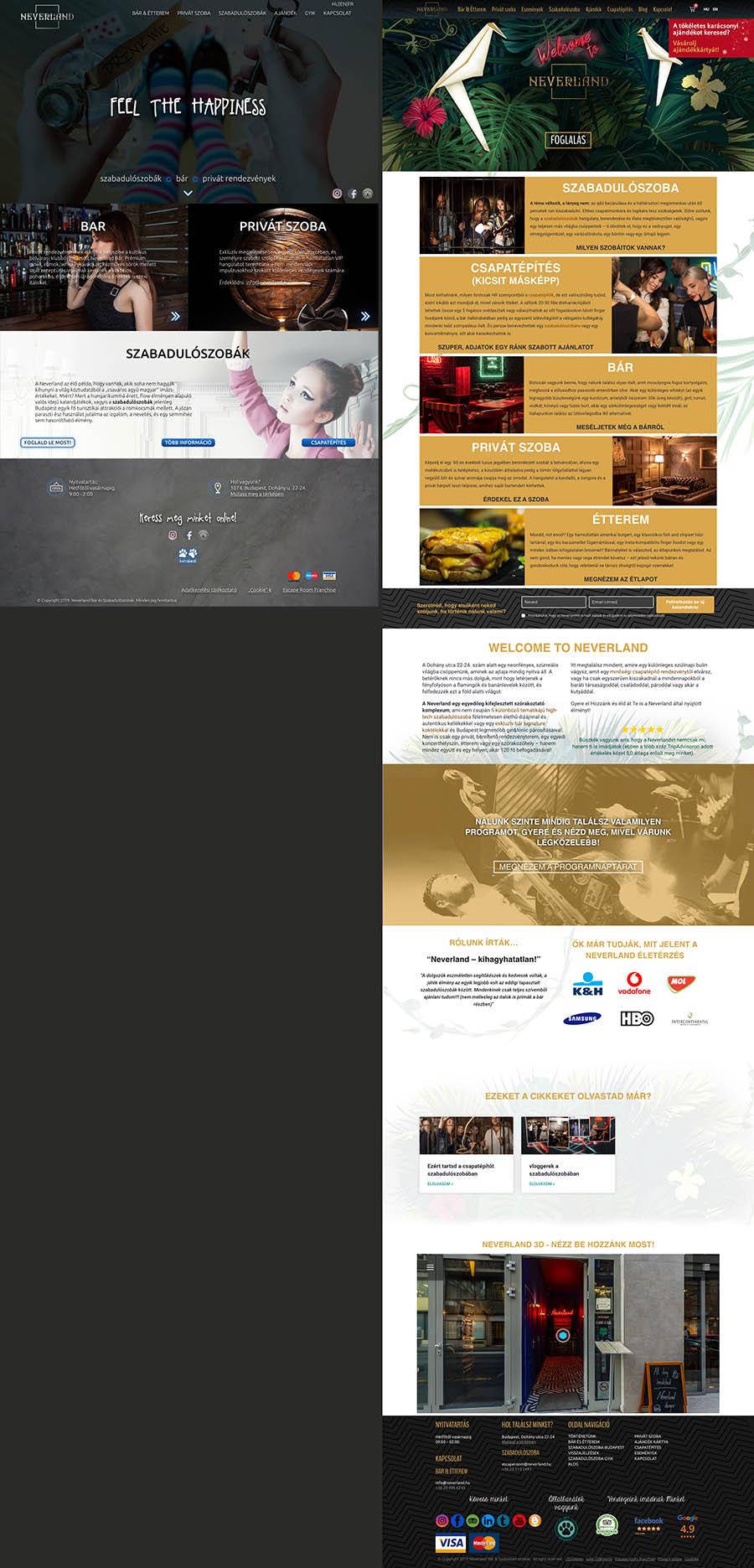 weboldal készítés főoldal előtte utána képernyőkép