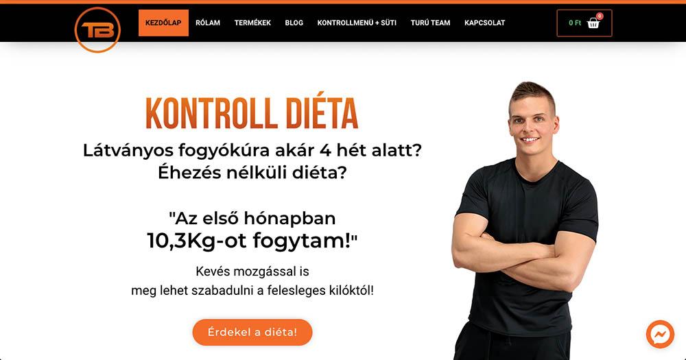 Kontrolldiéta főoldal Turú Balázs Divi Elementor váltás webshop csere