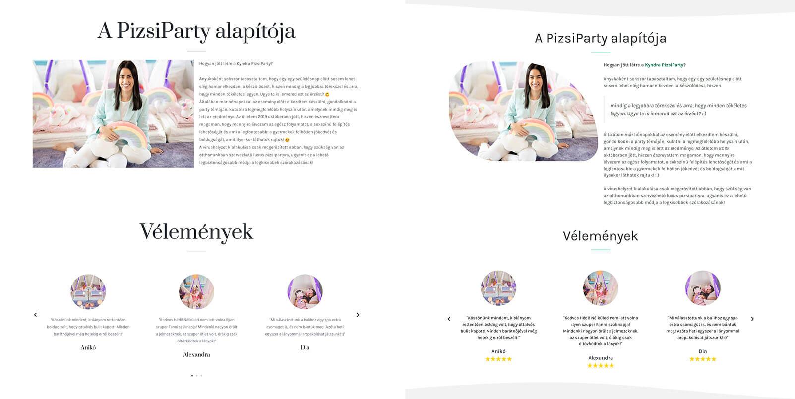 Weboldal megújítás - kyndraparty.hu 1